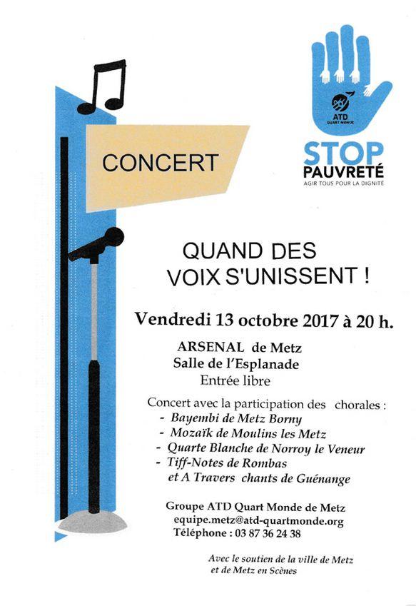 Affiche concert atd quart monde 13 10 2017