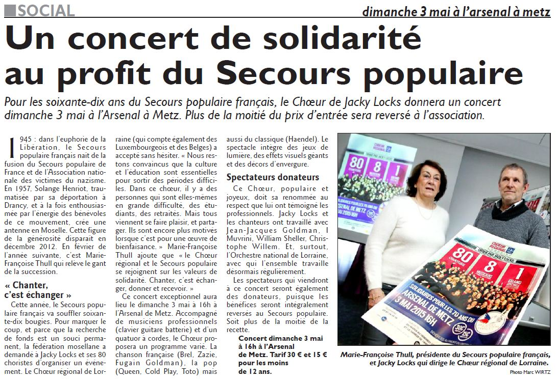 Article rl du 02 04 2015 concert au profit du secours catholique